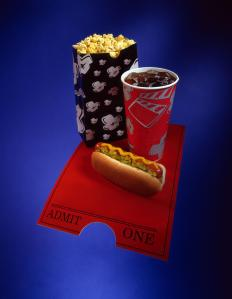 Movie theater hot dog with popcorn and soda