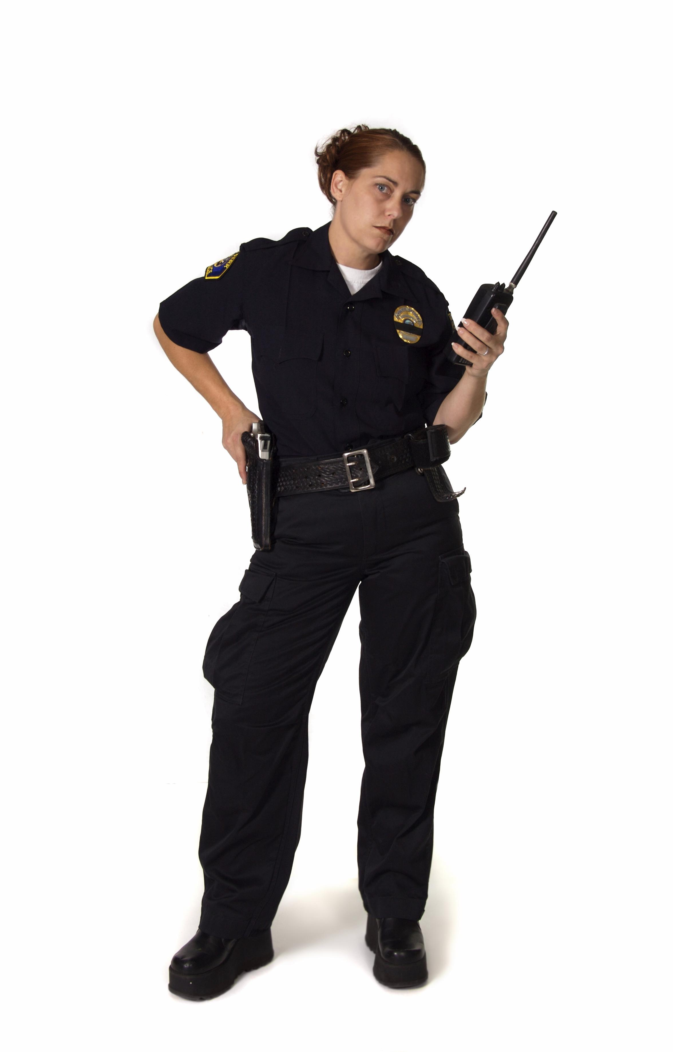 Female Officer Holding Radio With Hard on Gun