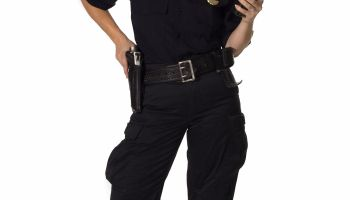 Female Officer Holding Radio With Hard on Gun