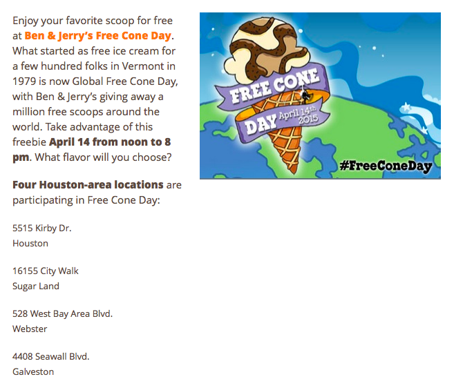 free cone tuesday