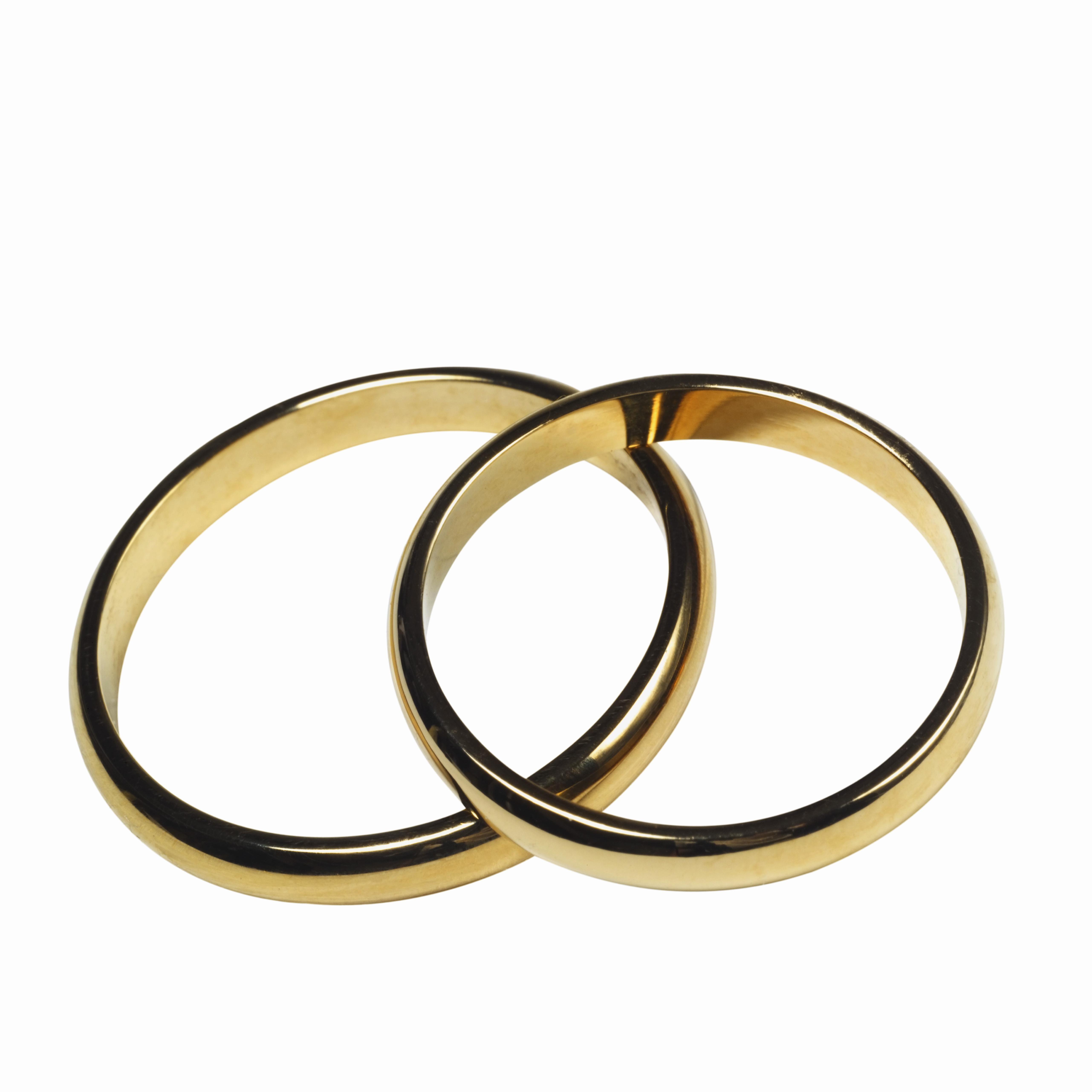 Elevated view of wedding rings