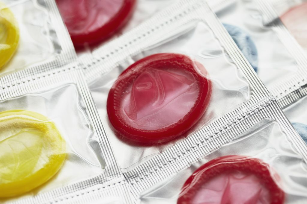 Close up of colorful condoms