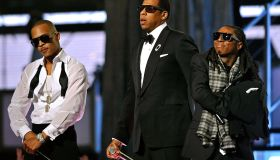 Jay Z performs with Lil Wayne and T.I at the Grammy Awards