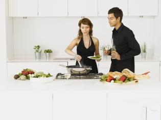 Couple preparing food
