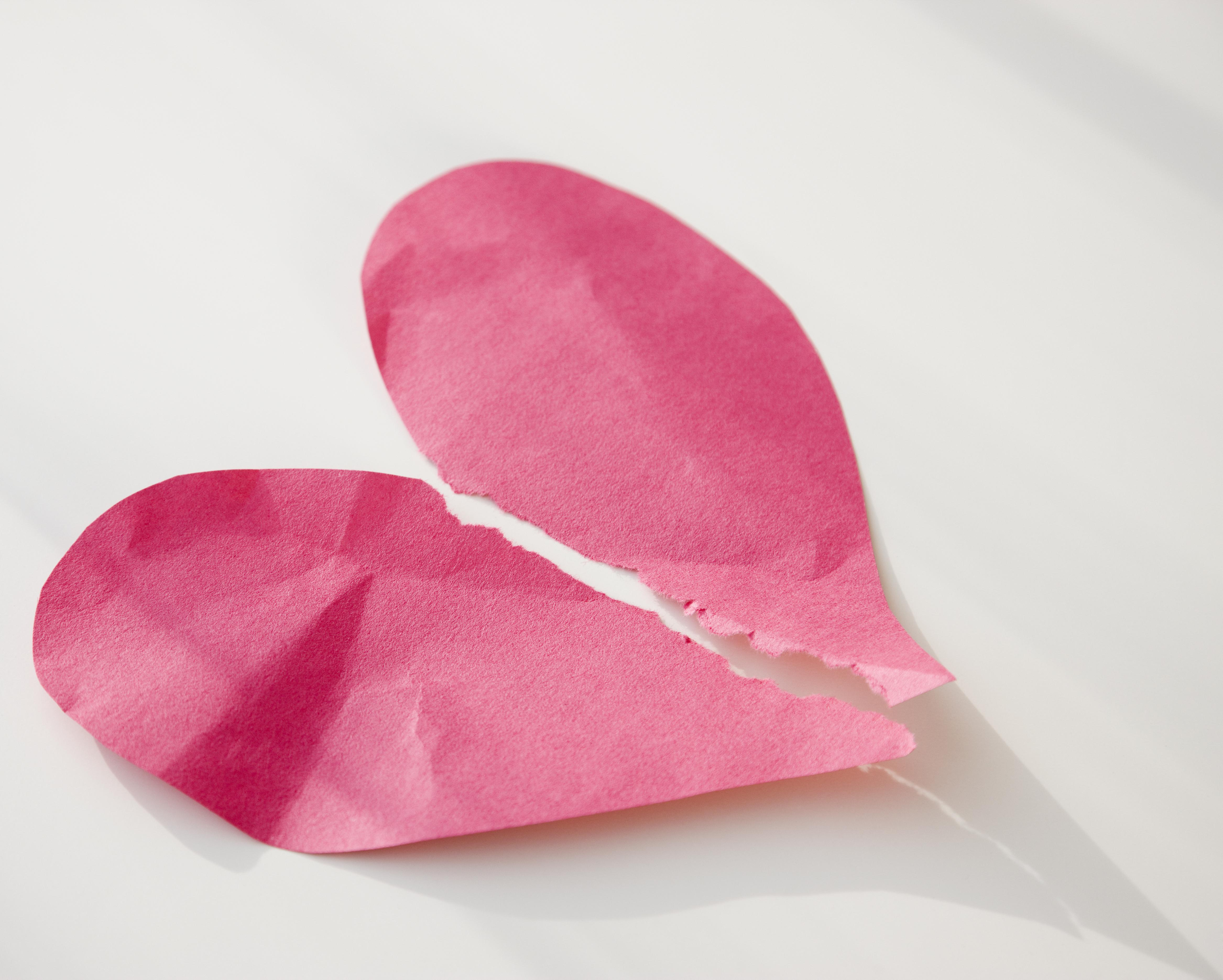 Paper heart ripped in half