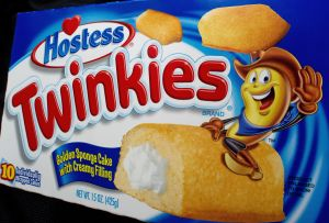 A view of a box of 10 Hostess Twinkies i