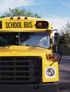 Front view of a school bus