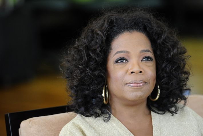 US talk show queen Oprah Winfrey looks o