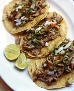 Beef tacos on plate, close-up
