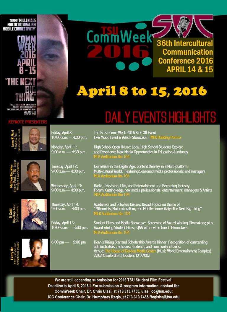 Texas Southern University 36th Intercultural Communication Conference Week 2016