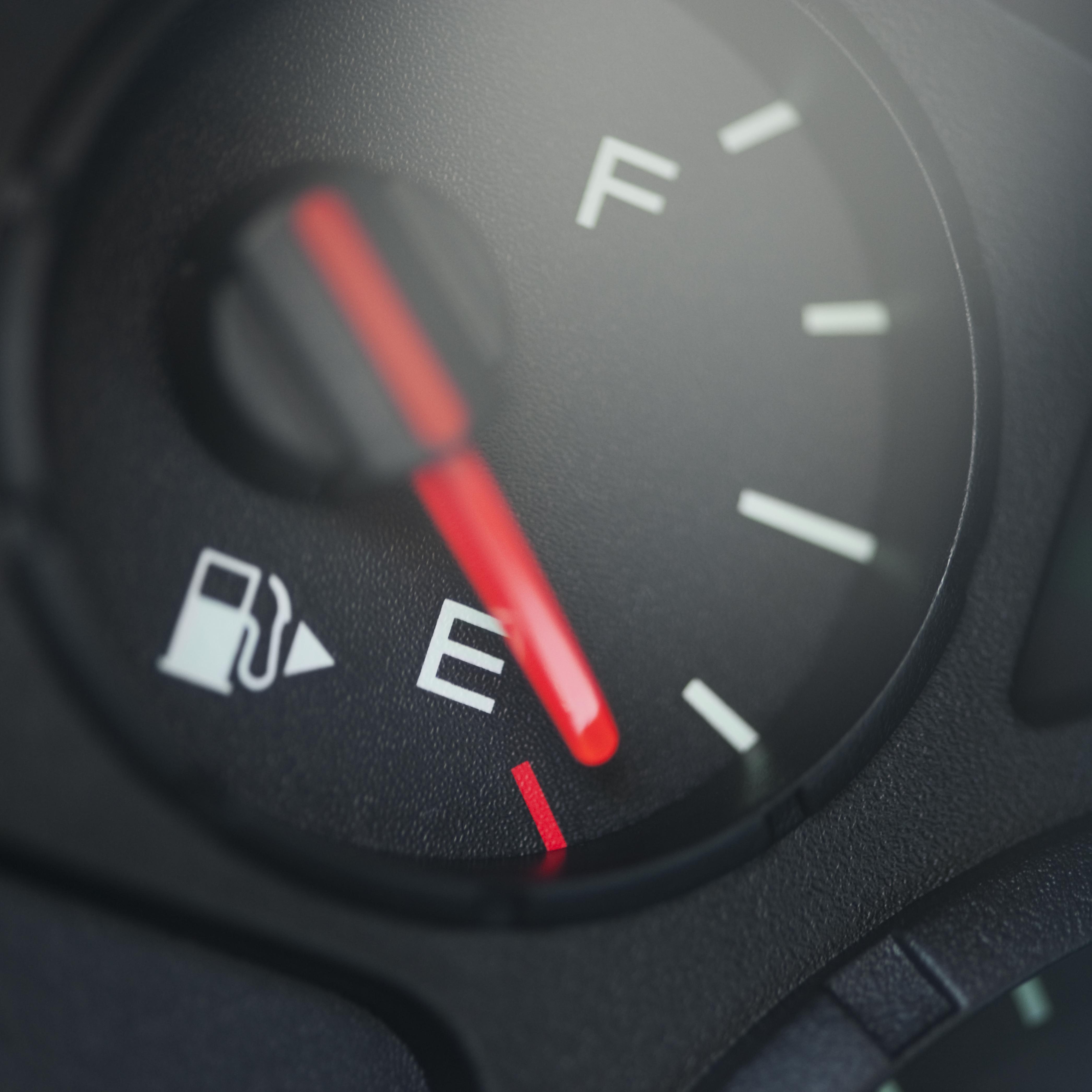 Close up of fuel gauge