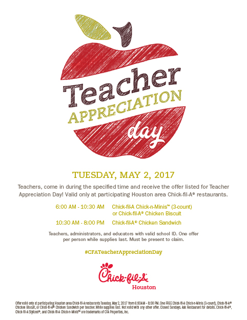 chick fil a teacher appreciation