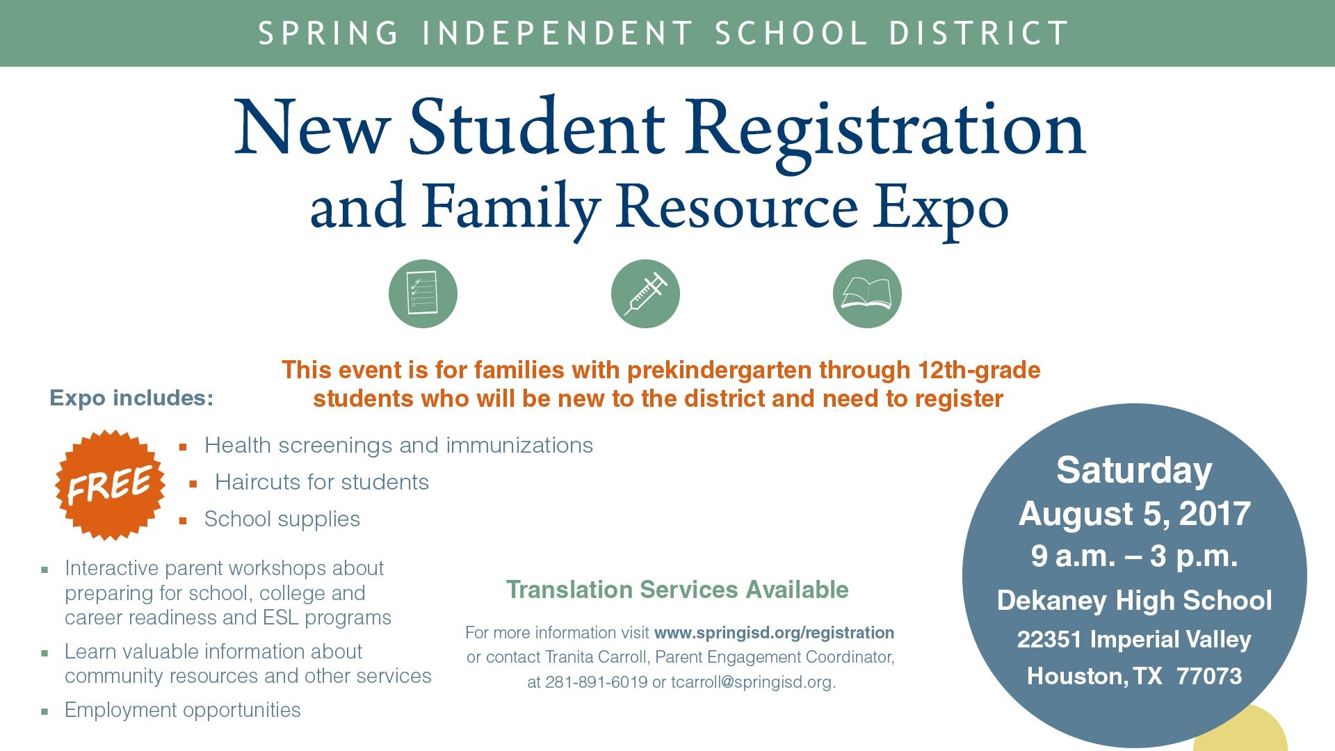 Spring ISD New Student Registration and Family Expo