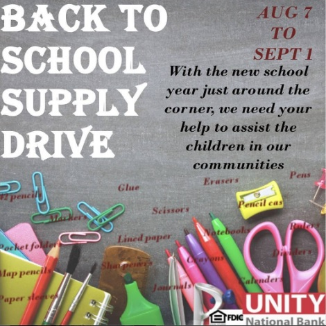 Unity National Bank Back To School Supply Drive