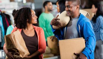 Couple donate items to food and clothing drive