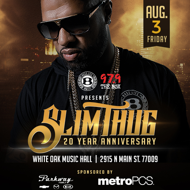 Slim Thug 20th Anniversary Concert Flyer