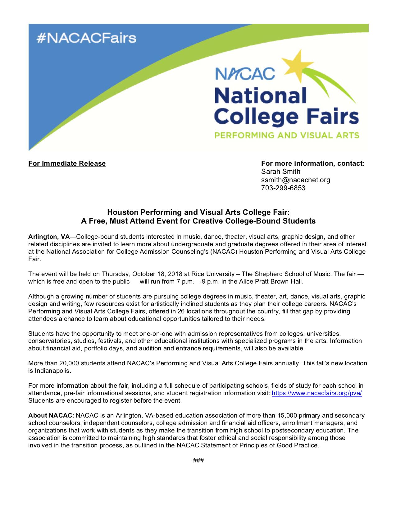 NACAC Performing and Visual Arts College Fair