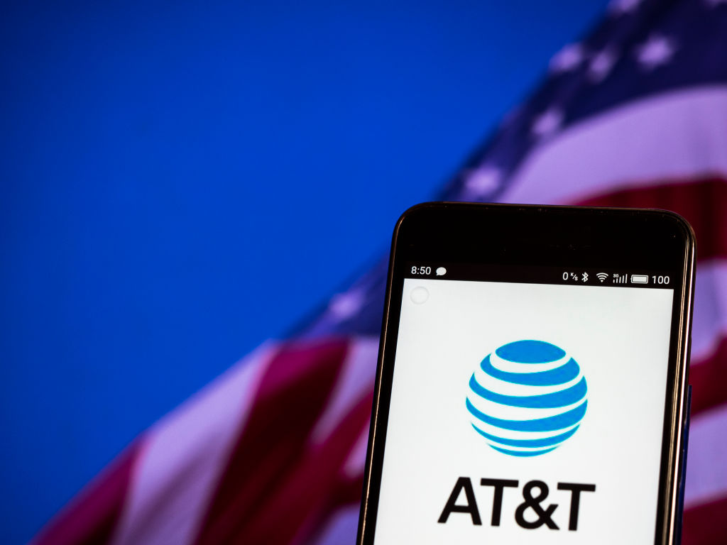 AT&T logo seen displayed on a smart phone...