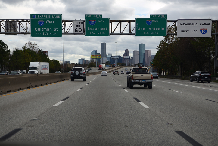 Traffic at downtown Houston, Texas, USA