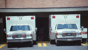 ambulances in ambulance bays at hospital