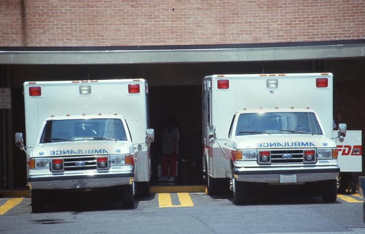 ambulances in ambulance bays at hospital