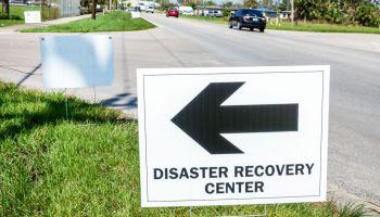 Florida, Immokalee, FEMA signs after hurricane