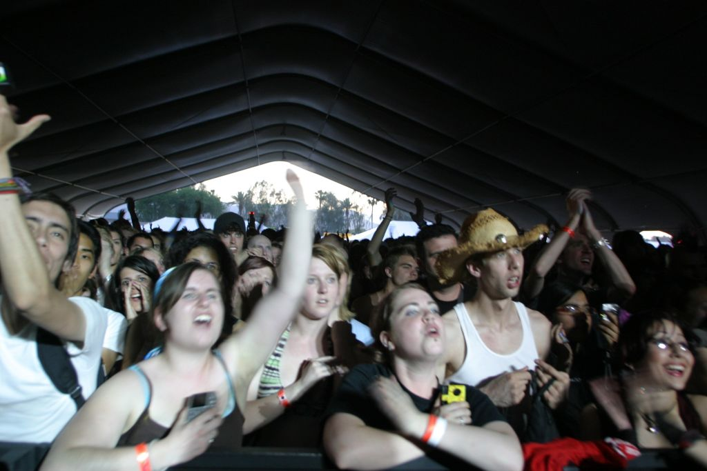 Fans cheer for Rufus Wainwright during his performance in the Mojave Tent at the Coachella Valley Music & Arts Festival in Indio, Calif., on Friday, April 27, 2007. Mercury News photograph by Tim Ball.
