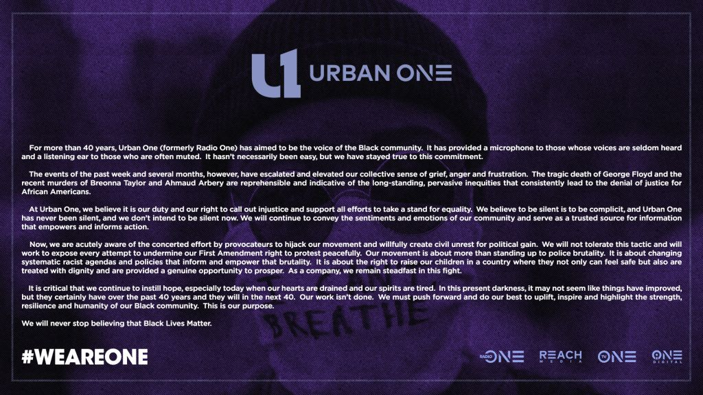 Urban One Corporate Statement