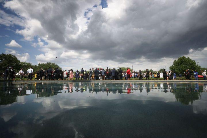 Line Near Fountain Of Praise
