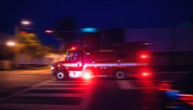 Ambulance driving in Miami responding to an urgency
